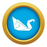 Origami swan icon blue vector isolated stock illustration