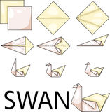 Origami swan. Illustrator of origami with swan Royalty Free Stock Images