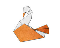 Origami swan made of paper Stock Photo