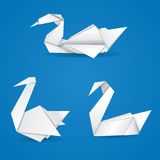 Origami swans Stock Images