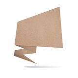 Origami tag recycled paper craft stick. On white background Stock Photo