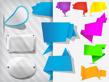 Origami tags, banners, labels glass plates Royalty Free Stock Photo