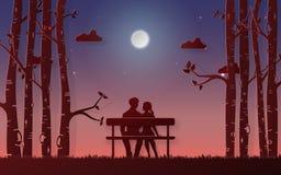 Origami tapeziert Kunst von den romantischen Paaren des Schattenbildes, die auf der Bank sitzen, die den Mond in der Dämmerungsze lizenzfreie abbildung