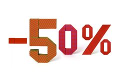 Origami text of discount sale 50 percent Stock Photos