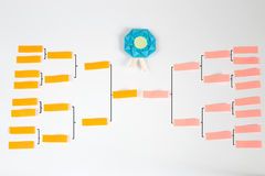 Origami Tournament Charts. Paper handcraft with paper and post it Royalty Free Stock Photo