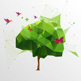 Origami tree. Polygon vector illustration Stock Photo