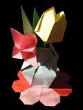 Origami tulip bouquet isolated on black Stock Photos