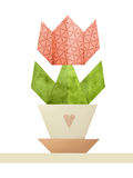 Origami tulip in a pot Royalty Free Stock Image
