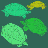 Origami turtles drawing illustration set Royalty Free Stock Images