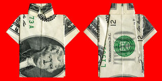 Origami two dollars bill shirt Royalty Free Stock Photography