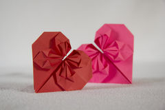 Origami - two hearts out of paper - 2.1 Royalty Free Stock Photography