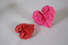 Origami - two hearts out of paper - 1 Stock Image