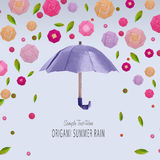 Origami umbrella with flowers Royalty Free Stock Images