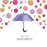 Origami umbrella with flowers Stock Images