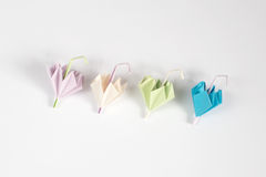 Origami umbrella. Pastale colour for isolate Royalty Free Stock Photo