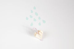 Origami umbrella and rain concept. For isolate Royalty Free Stock Images