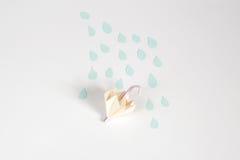 Origami umbrella and rain concept. For isolate stock illustration