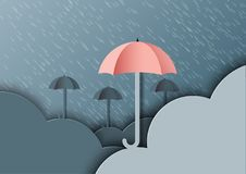 Origami umbrellas with clouds on monsoon background and rainy se stock illustration