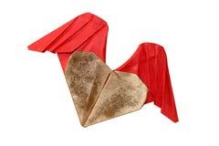 Origami-Valentinstag-Herz lokalisiert Stockbilder