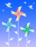 Origami vanes and cranes Royalty Free Stock Photo