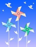 Origami vanes and cranes Royalty Free Stock Photo