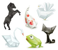 Origami vector animals icons Stock Photography
