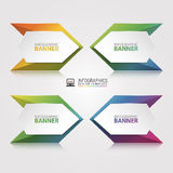 Origami vector banner. White banner wrapped with colored paper Stock Photography