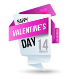 Origami vector banners Happy Valentine's Day. Stock Photos