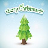 Origami vector christmas tree. Original new year card Stock Photo