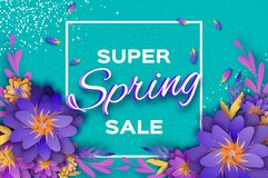 Origami violet Super Spring Sale Flowers Banner. Paper cut Floral card. Spring blossom. Happy Womens Day. 8 March. Text Stock Image