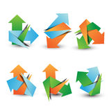Origami web banner set Stock Photo