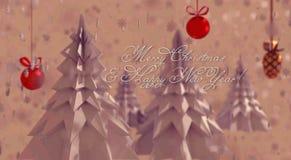 Origami-Weihnachtsbäume auf dem Rosa, schneebedeckter Hintergrund lizenzfreie abbildung