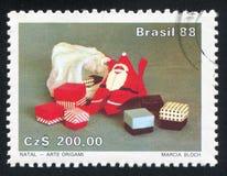 Origami Weihnachtsmann Stockfoto