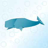 Origami whale. Animals colorful paper Royalty Free Stock Photos