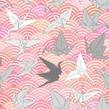 Origami white grey paper cranes set sketch seamless pattern. line Nature oriental background with japanese wave circle pattern pin. K color. Vector illustration Stock Photos