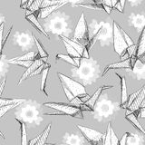 Origami white paper cranes set sketch seamless pattern. gray line Nature oriental background with japanese Sakura flowers pastel c. Olors on gray background Stock Photography