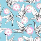 Origami white paper cranes set sketch seamless pattern. gray line Nature oriental background with japanese Sakura flowers pastel c. Olors on blue background Royalty Free Stock Images