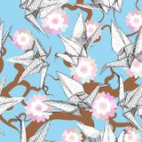Origami white paper cranes set sketch seamless pattern. gray line Nature oriental background with japanese Sakura flowers pastel c. Olors on sky blue background Stock Photos
