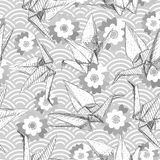 Origami white paper cranes set sketch seamless pattern. gray line Nature oriental background with japanese wave circle pattern pas. Tel colors on gray background Stock Images