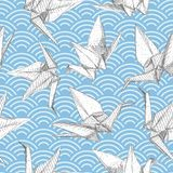 Origami white paper cranes set sketch seamless pattern. gray line Nature oriental background with japanese wave circle pattern pas. Tel colors on green blue Stock Photo