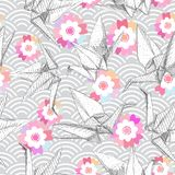 Origami white paper cranes set sketch seamless pattern. gray line Nature oriental japanese pink Sakura flowers wave circle pattern. Pastel colors on gray Stock Photo