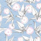 Origami white paper cranes set sketch seamless pattern. gray line Nature oriental japanese pink Sakura flowers wave circle pattern. Pastel colors on blue Stock Image
