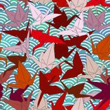 Origami white paper cranes set sketch seamless pattern. line Nature oriental background with japanese wave circle pattern burgundy. Maroon pink brown colors on Stock Photo