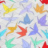 Origami white paper cranes set sketch seamless pattern. line Nature oriental background with japanese wave circle pattern red yell. Ow blue green purple colors Stock Photography