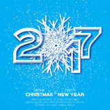 Origami White Snowflake and 2017 Greeting card. Merry Christmas and Happy New Year background. Vector paper design illustration Royalty Free Stock Photo