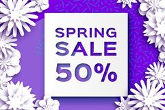 Origami White Spring Sale Flowers Banner. Paper cut Floral card. Spring blossom. Happy Womens Day. 8 March. Text Stock Photography