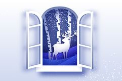 Origami window frame. Deer in paper cut style. Merry Christmas Greeting card. Winter season holidays. Happy New Year vector illustration