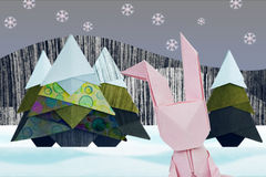 Origami  winter rabbit Stock Photo