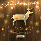 Origami Xmas Deer and garland on wooden texture, Christmas illustration. Vector, eps10, . Stock Photo