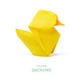 Origami yellow duckling Royalty Free Stock Image